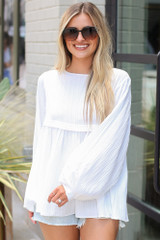 Textured Babydoll Blouse in White Front View