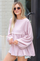 Textured Babydoll Blouse in Mauve Side View