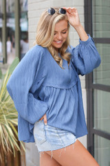 Textured Babydoll Blouse in Denim Side View