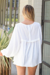 Textured Babydoll Blouse in White Back View