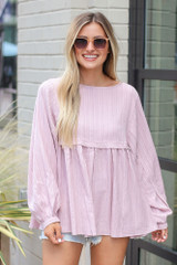 Mauve - cute trendy babydoll top from dress up