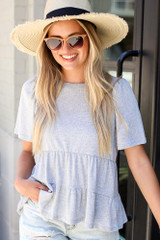 Heather Grey - Tie-Back Tiered Top