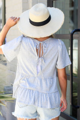 Heather Grey - Tie-Back Tiered Top Back View