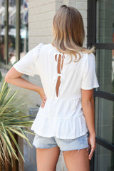 Ivory - Tie-Back Tiered Top from Dress Up Back View