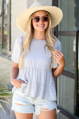Tie-Back Tiered Top in Heather Grey Front View
