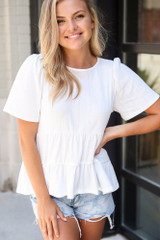 Tie-Back Tiered Top in Ivory Front View
