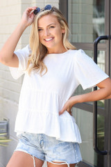 Tie-Back Tiered Top in Ivory Side View