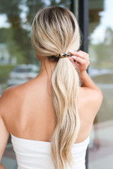 Tan - Tortoise Acrylic Hair Tie styled in a cute ponytail