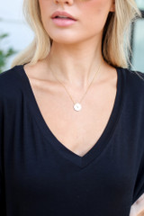 Model wearing the Circle Pendant Necklace