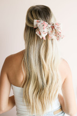 White - Floral Bow Hair Clip at dress up