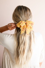 Yellow - Floral Bow Hair Clip at shopdressup