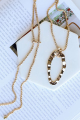 Gold - Textured Pendant Necklace