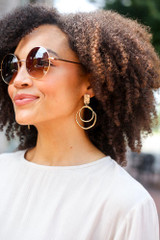Gold - Textured Statement Earrings with Oval Pendants