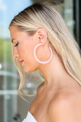 Pink - cute hoop earrings