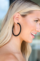 Black - trendy oversized Flat Hoop Earrings