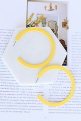 Yellow - Flat Hoop Earrings at shopdressup.com