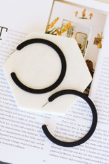 Black - cute Flat Hoop Earrings  from dress up