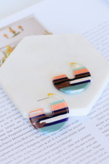 Flat Lay of the Striped Acrylic Earrings
