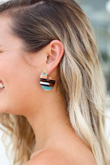 Model wearing the Striped Acrylic Earrings