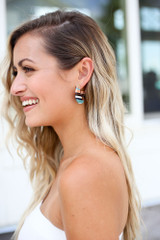 Multi - Striped Acrylic Earrings at Dress Up Boutique