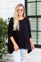 Black - cute oversized tunic with distressed denim jeans