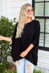 Oversized Tunic in Black Front View