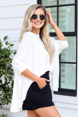 Oversized Tunic in White Side View