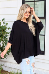 Oversized Tunic in Black Side View