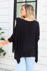 Oversized Tunic in Black Back View