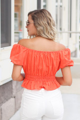 Puff Sleeve Crop Top Back View