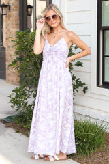Lavender - Paisley Maxi Dress Front View