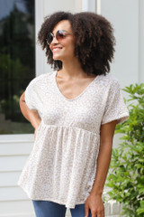 Taupe - Leopard Print Babydoll Top at Dress Up Boutique