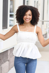 Smocked Peplum Tank in Ivory Front View