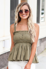 Olive - Smocked Peplum Tank Top with White Flare Jeans