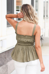 Smocked Peplum Tank in Olive Back View
