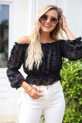 Off The Shoulder Textured Blouse Front View