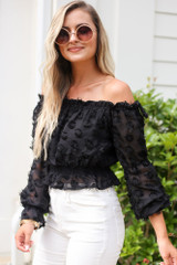 Off The Shoulder Textured Blouse Side View