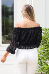 Off The Shoulder Textured Blouse Back View