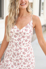 Close Up of the Floral Maxi Slip Dress