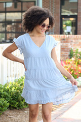 Tiered Swiss Dot Babydoll Dress Front View