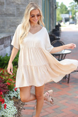 Swiss Dot Babydoll Dress in Ivory Front View