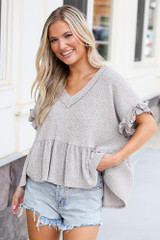 Grey - Ribbed Knit Babydoll Top