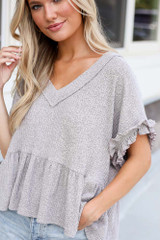 Close Up of the Ribbed Knit Babydoll Top
