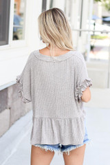 Ribbed Knit Babydoll Top Back View