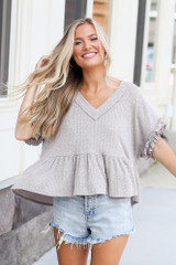 Ribbed Knit Babydoll Top Front View