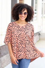 Peach - Cheetah Spotted Oversized Blouse