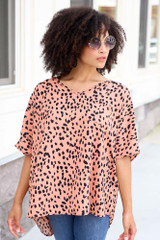 Spotted Oversized Blouse Front View