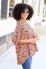 oversized fit top with spotted print side view