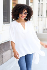 White - cute work blouses at dress up boutique