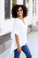 oversized tunic top with v-neck
